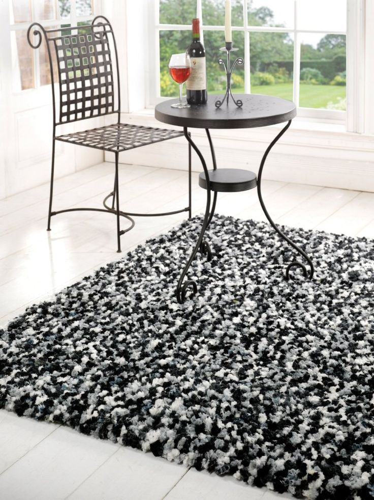 Superior Black And Whit Big Rugs | Soft Comfortable Modern Black White Shaggy Rugs