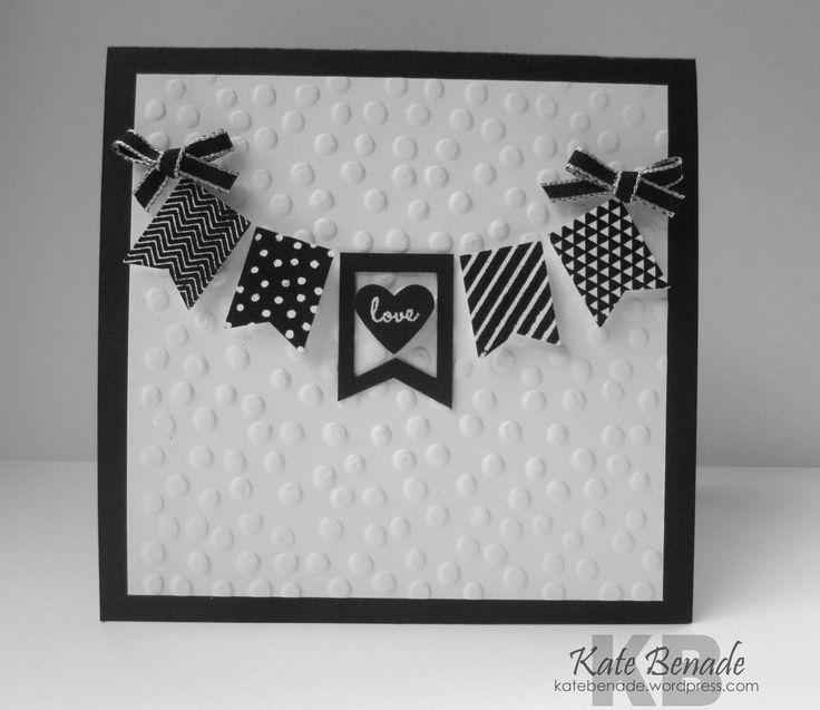 Crazy Crafters Black & White Blog Hop Banner Blast stamp set Banner Punch Decorative Dots embossing folder