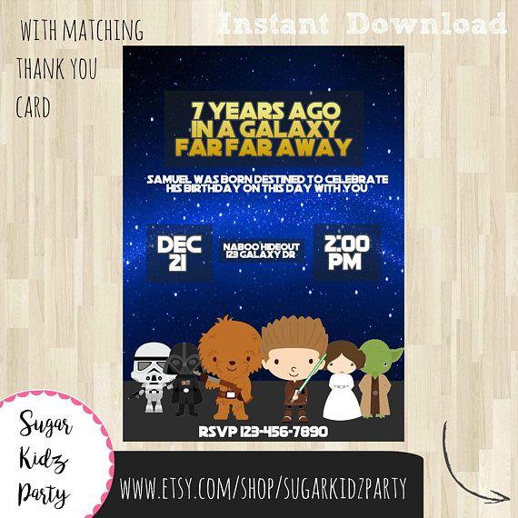 star wars party, invitation, star wars invitation, birthday, birthday invitation, star wars birthday, printable, star wars, digital, party