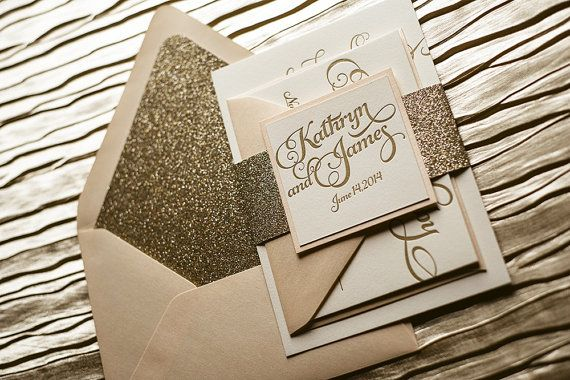 Blush Gold Wedding Invitation, Gold Glitter Wedding Invite, Calligraphy Invitation, Gold Invitation - Sample Set on Etsy, $12.50