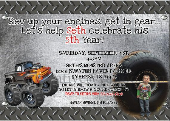 Birthday invitations, Trucks and Monster trucks on Pinterest