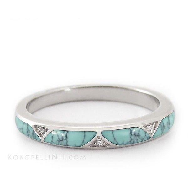 18k White Gold Diamond Turquoise Engagement Ring 18k Gold Turquoise Liked On Poly Turquoise Wedding Rings Turquoise Wedding Band Turquoise Ring Engagement