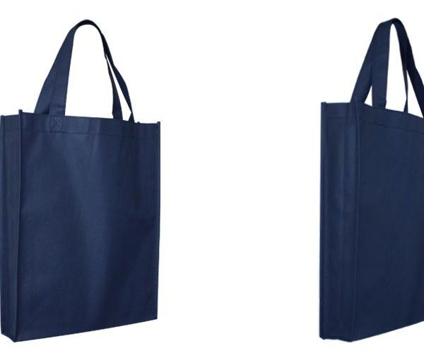 NON WOVEN TRADE SHOW TOTE BAG (WITH GUSSET)  Price includes 1 color, 1 position print   2 Color imprint available for an additional charge  Get your promotional tote bags ordered today for wider brand exposure!  The perfect size for carrying around textbooks, trade show and expo items or any number of other practical uses, these non-woven tote bags will be carried around, constantly displaying your logo.