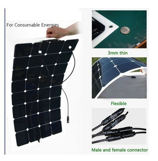 100W flexible solar panel for solar powered fishing boats backside connection fo