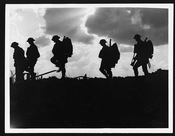 (311) C.2494 - Troops moving up at eventide - men of a Yorkshire regiment on the march  IWM Q 2978 http://www.iwm.org.uk/collections/item/object/205194704
