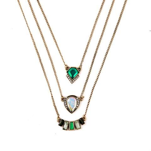 Emerald Three Layered Pendant Necklace