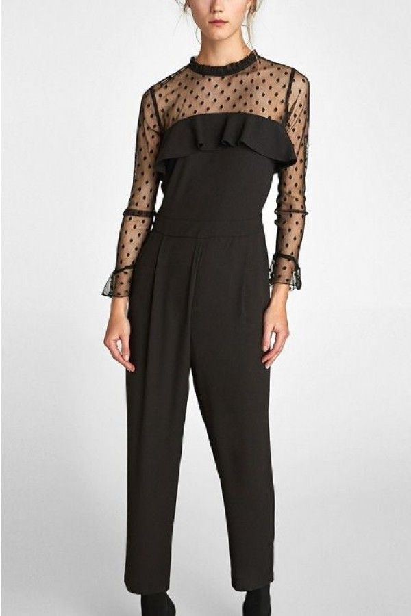 Enjoy free shipping. How do you think about this style? #maykool #jumpsuit #mesh #polkadot