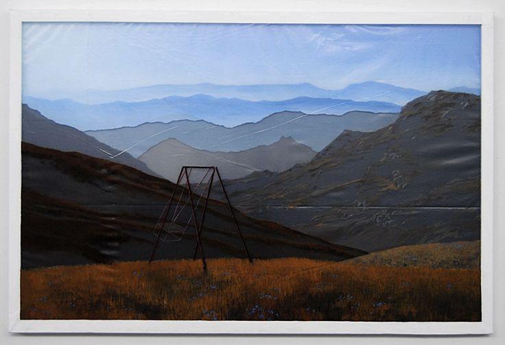 warstwy snu - góry - akryl na czterech warstwach folii, 80/120cm /layers of dream - mountains - acrylic on four layers of foil, 31,5/47inch http://www.facebook.com/cin3k88/ na sprzedaż/for sale
