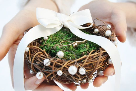 Ring bearer pillow rustic wedding ring pillow Twig moss nest ring by WildRoseAndSparrow, $27.00