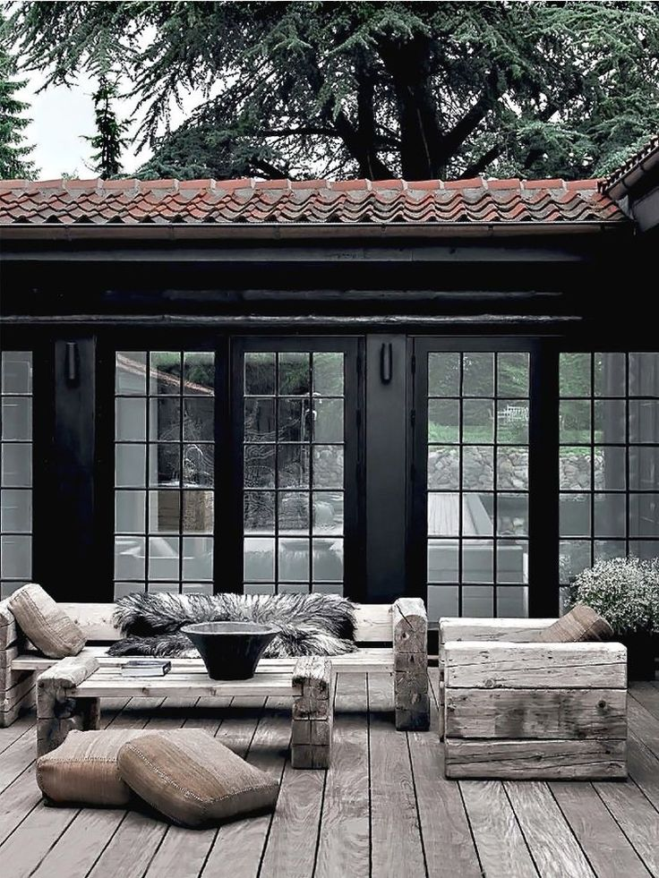 Block furniture against a black house