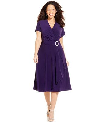 R&M Richards Plus Size Short-Sleeve Faux-Wrap Dress. I will be wearning the navy version for the wedding I'm singing at.