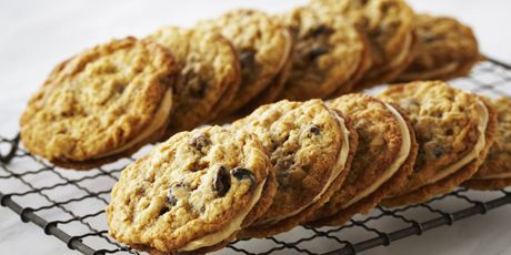 Oatmeal Raisin Sandwich Cookies (with a peanut butter filling) by Anna Olson