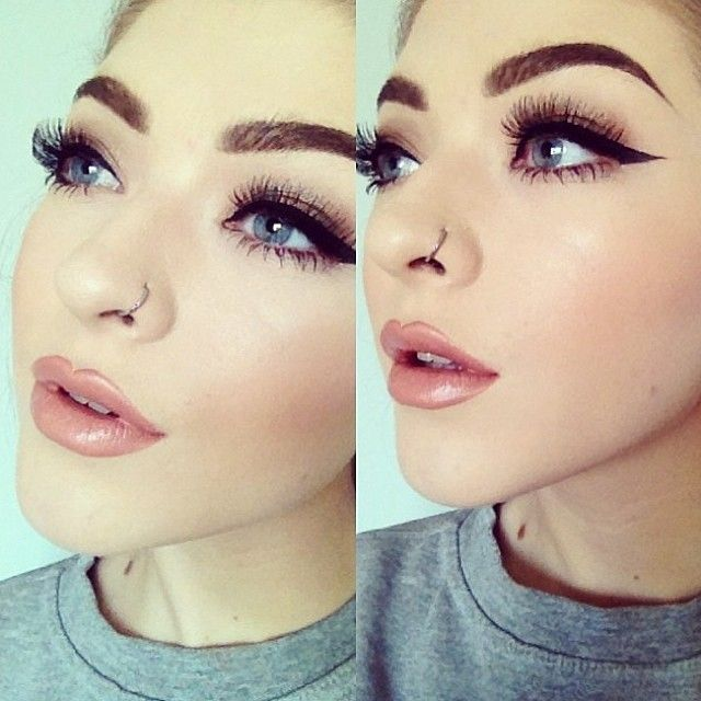 .Perfect day time make-up! Beautiful nudey pink defined lips, pristine brows and winged eyeliner and amazing lashes.