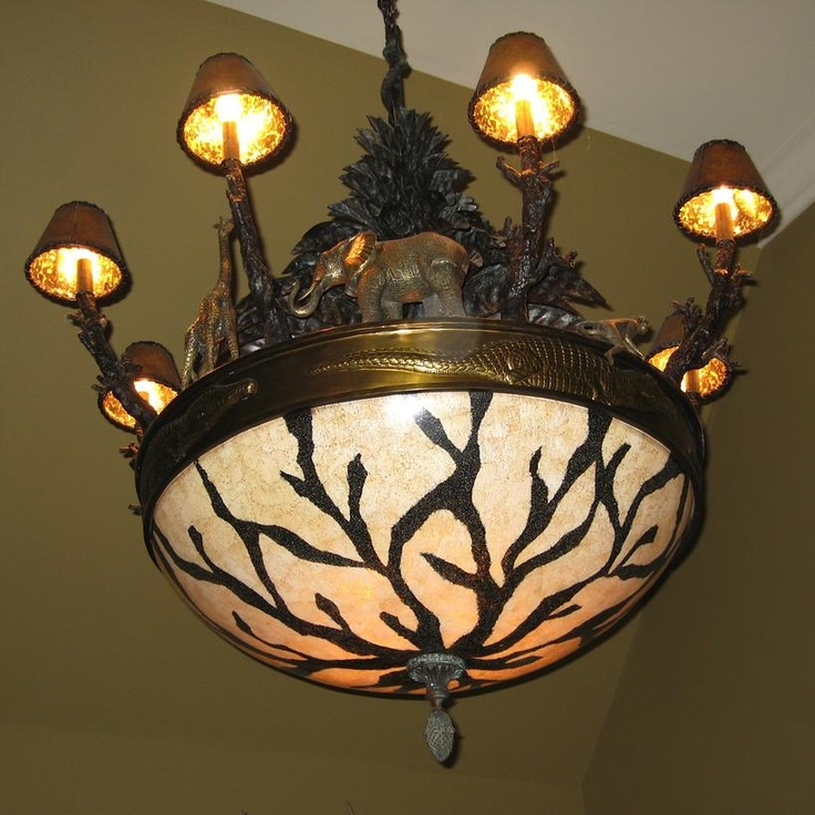 Chandelier With Painted Monkeys Maitland Smith African Wildlife Eggs Bowl Brass Animals Stunning