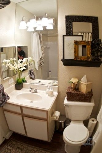 My apartment bathroom is exactly this size! Small! I love what they did here!!! MUST DO!