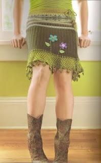 repurposed sweater into a skirt with added crochet hem & waist, super cute!