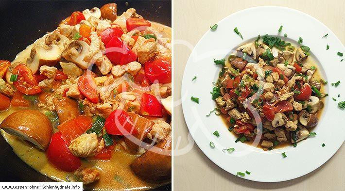 Low Carb Rezept für eine leckere Puten-Champignonpfanne in leichter Tomatensoße. Wenig Kohlenhydrate & einfach zum Nachkochen. Super für Diät/zum Abnehmen.