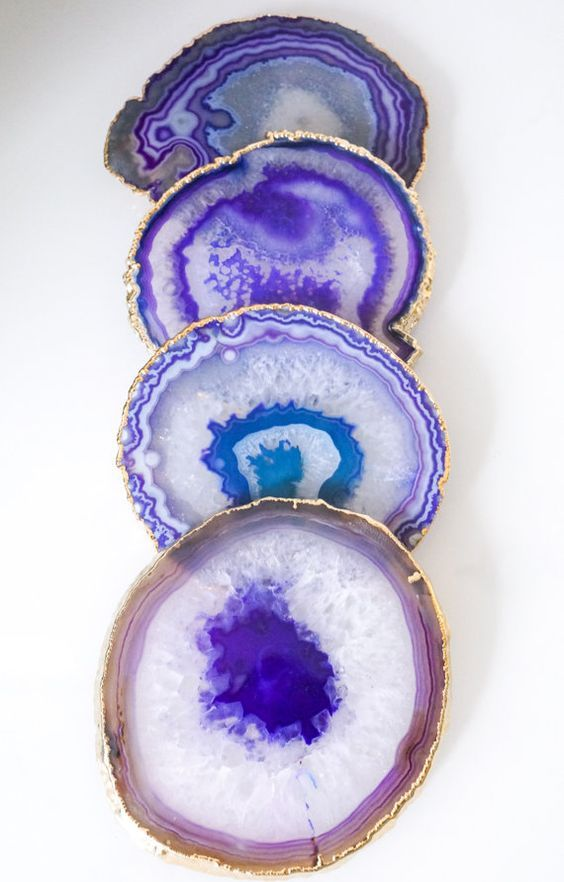 PURPLE agate coasters. GOLD rim geode coasters. gem coasters. 4 coaster set. home decor. housewarming gift. table decorations