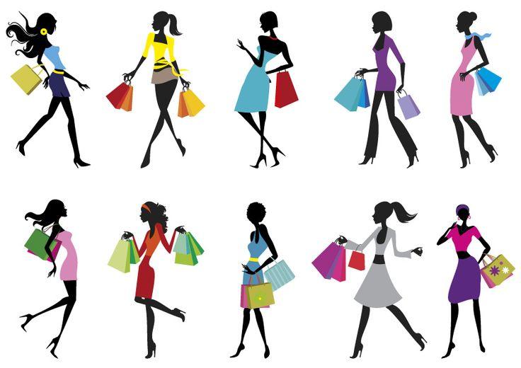 Pin 10 Sagome Ragazze Buste – Shopping Girls Silhouettes Vettoriali