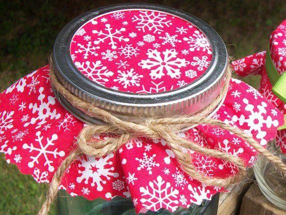 12 Red Snowflake Christmas Jam Jar Covers Fabric Cloth Etsy In 2020 Holiday Mason Jars Gifts Mason Jar Christmas Gifts Mason Jar Gifts