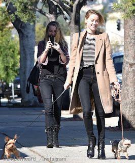 Celebrity Style   海外セレブ最新ファッション情報 : 【アンバー・ハード】リラックスした表情!ボーダートップスにベージュコートを合わせて愛犬二匹とお散歩!...