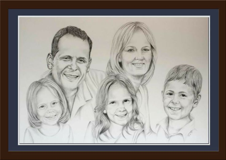 Family of five.  Pencil on 300gsm paper. Drawn by Susan Brett.