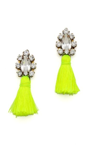 Neon tassel earrings.