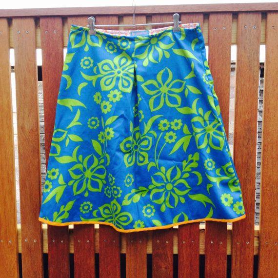 South Pacific Vintage Cotton Fabric Skirt A Line by byShoebridge