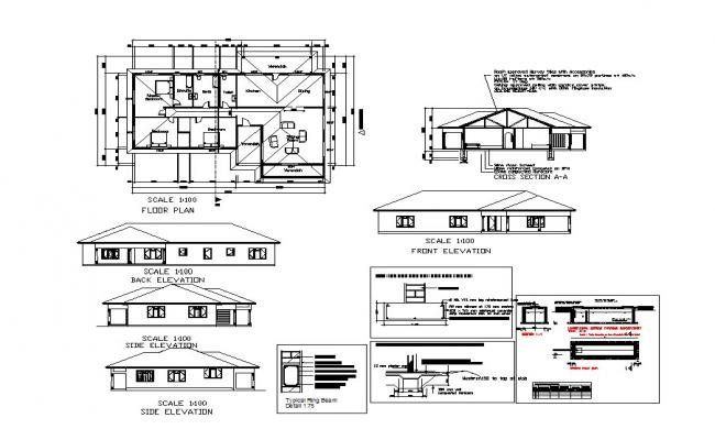 Plan Of House Design With Elevation Details In Autocad Denah Desain Rumah Desain Rumah Desain