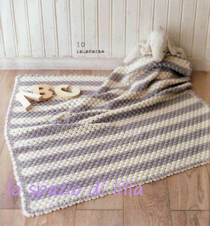 """lo spazio di lilla: Copertina all'uncinetto per neonato """"Stripes"""""""