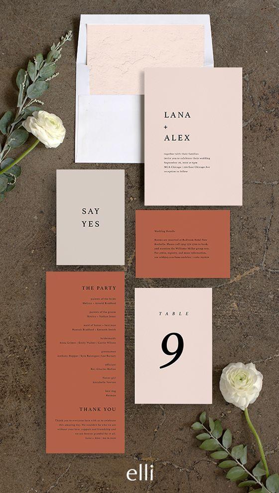 Natural Palette Wedding Invitations
