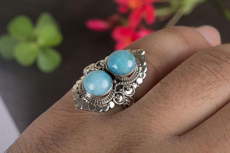 Silberringe - Larimar Ring, Blauer Edelstein Ring, Boho Ring - ein Designerstück von ArtisanJewellery bei DaWanda