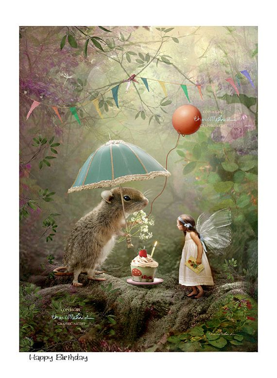 Fairy gift – Art Print or Ready to hang Plaque – Happy Birthday- Charlotte Bird