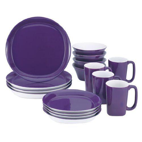 Rachael Ray Dinnerware Round and Square 16-Piece Dinnerware Set, Purple | shopswell