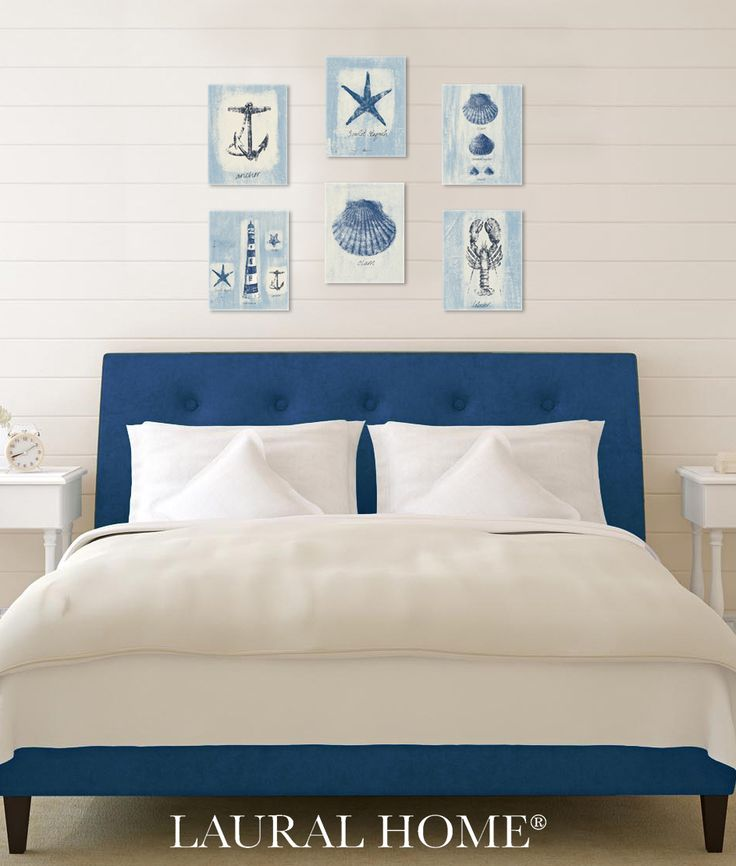 Coastal gallery wall featuring new Waverly designs from Beach Comber (Surf). Mix and match these beach images for a customized look.