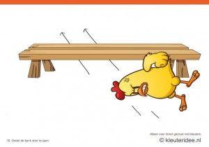 Bewegingskaarten kip voor kleuters 18, onder de bank door kruipen , kleuteridee.nl , thema Lente, Movementcards for preschool,  free printab...
