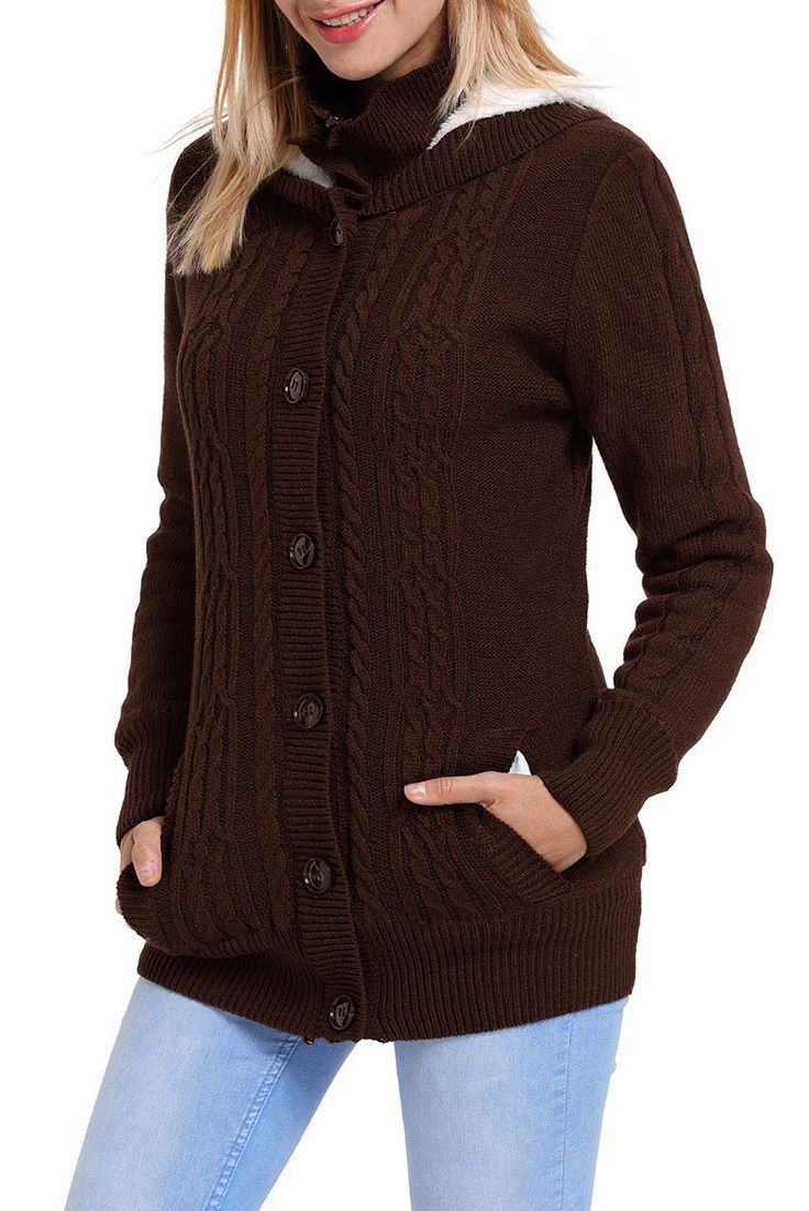 Cardigan Femme Hiver Marron Manches Longues a Capuchon Pas Cher www.modebuy.com @Modebuy #Modebuy #Marron #style #mode #styles #outfitpost