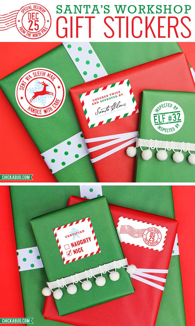Santa's Workshop Gift Stickers. These adorable stickers make your packages look like they came straight from the North Pole! So special and magical for everyone on your nice list! : )