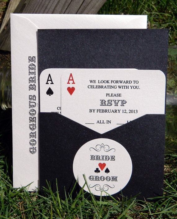 Sample of Panel Pocket Style Vegas or poker Themed Wedding Invitations on Etsy, $1.00