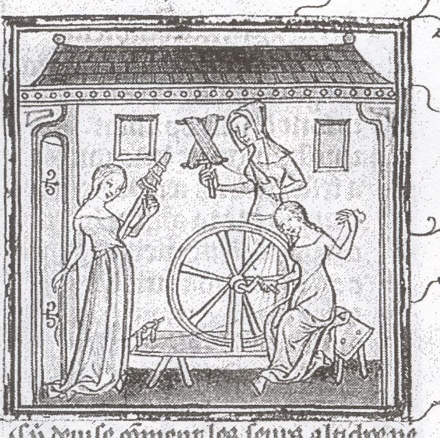 Woman spinning on a great wheel which is turned by a crank. MS 17, Musee Dobree, Nantes 16th c. France