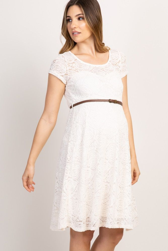 d09c747b97 Ivory Lace Belted Maternity Dress in 2019