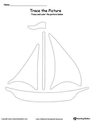 Boat Picture Tracing: Reinforce fine motor skills in your preschool child by tracing lines and coloring the picture.
