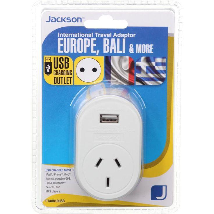 Jackson International Travel Adaptor with USB Charging (Europe, Bali & More)