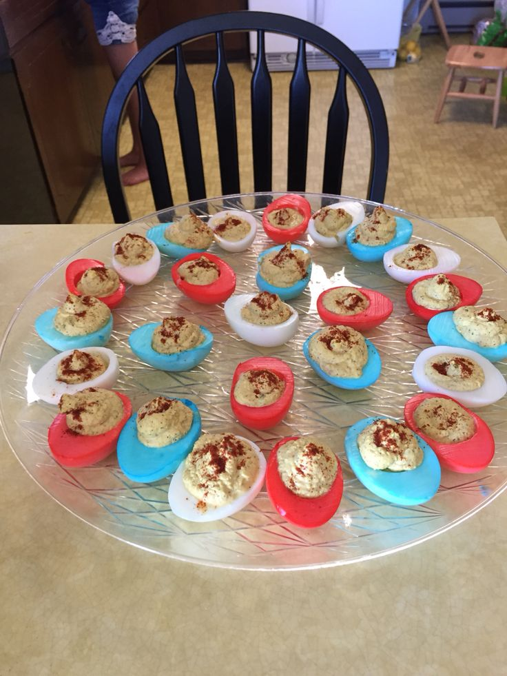 "Red, white and blue ""Angel"" eggs for the 4 th of July."