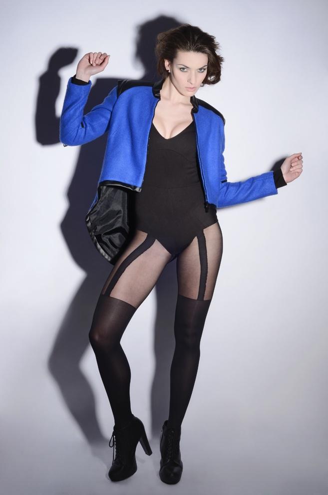 wawak/czajkowska  GIA GIA A/W 13/14  #cropped  #jacket  #royalblue  #asymetric  #body  #black  #cut  #back  #vneck