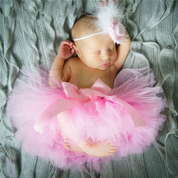 Cute Newborn Baby Girls Tutu Skirt Headband Photo Prop Costume Toddler Kids Outfit Infant