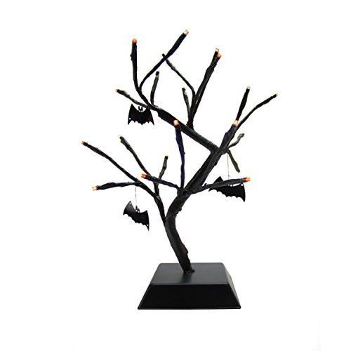 Felices Pascuas Collection 15 inch Pre-Lit B/O Black Spooky Halloween Table Top Tree with Bats - Orange LED Lights