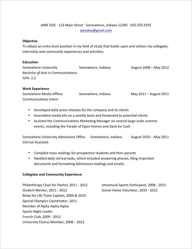check out this resume sample for recent college graduates