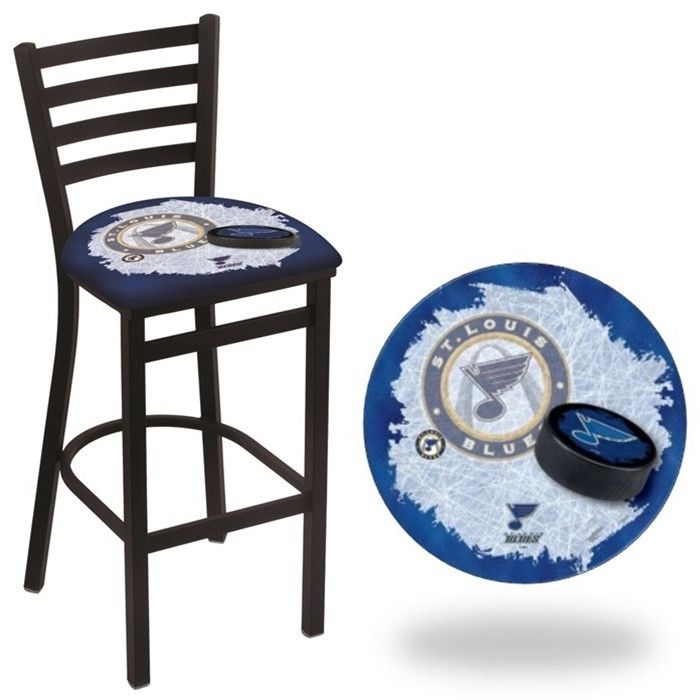 St. Louis Blues NHL D2 Stationary Ladder Back Bar Stool. Available in 25-inch and 30-inch seat heights. Visit SportsFansPlus.com for details.