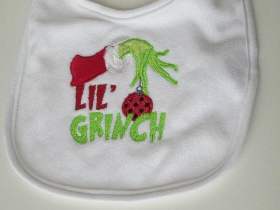 Lil' Grinch Baby Bib by seamssewprecious on Etsy, $12.00